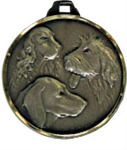 Médaille Laiton Frappée Têtes De Chien 32 Mm - Couleur
